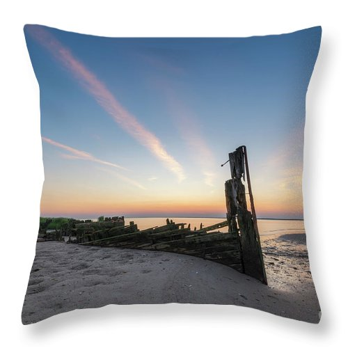 Shipwreck Sunset Throw Pillow featuring the photograph Abandoned Boat Sunset by Michael Ver Sprill
