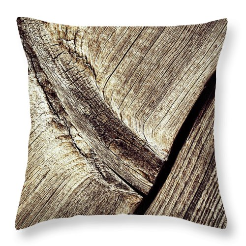 Old Throw Pillow featuring the photograph Abstract Detail Of A Wooden Old Board by Jozef Jankola