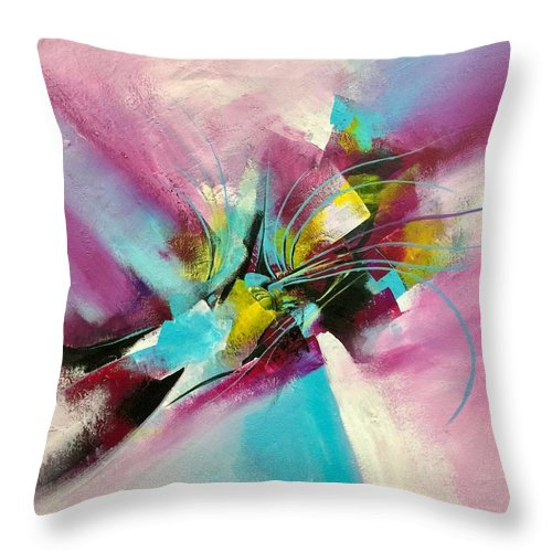Purple Throw Pillow featuring the painting Abstract Painting by Ali Shahbazi
