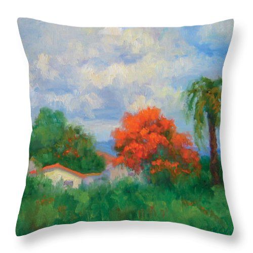 Honduras Throw Pillow featuring the painting Acacias And Red Roofs by Bunny Oliver
