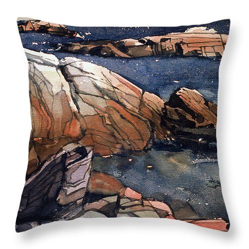 Acadia Throw Pillow featuring the painting Acadia Rocks by Donald Maier