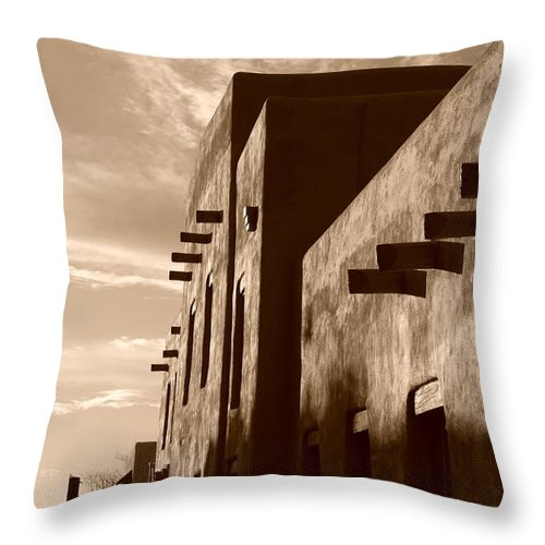 Architecture Throw Pillow featuring the photograph Adobe Sunset by Rob Hans