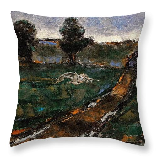 Landscape Throw Pillow featuring the mixed media After The Rain 5 by Pemaro