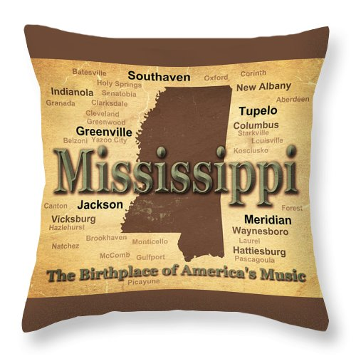 Mississippi Throw Pillow featuring the photograph Aged Mississippi State Pride Map Silhouette by Keith Webber Jr