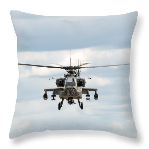 Helicopter Throw Pillow featuring the photograph Ah-64 Apache by Sebastian Musial