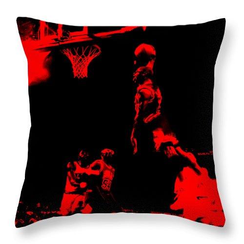 Michael Jordan Throw Pillow featuring the painting Air Jordan Glide by Brian Reaves