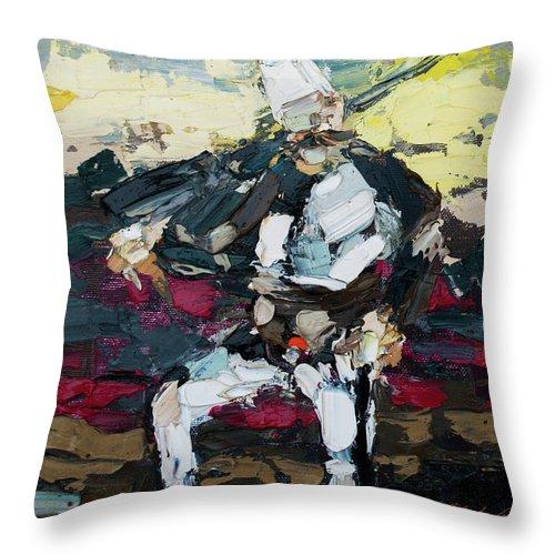 Albanian Traditional Costumes Throw Pillow featuring the painting Albanian Traditional Costumes by Mentor Berisha