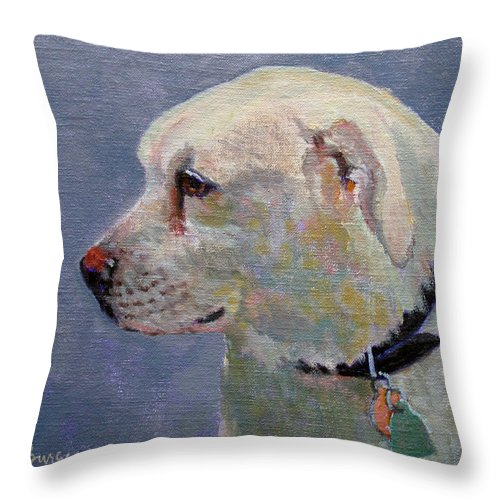 Dog Throw Pillow featuring the painting Alex by Keith Burgess