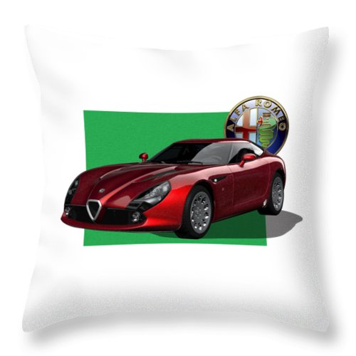 �alfa Romeo� By Serge Averbukh Throw Pillow featuring the photograph Alfa Romeo Zagato T Z 3 Stradale with 3 D Badge by Serge Averbukh