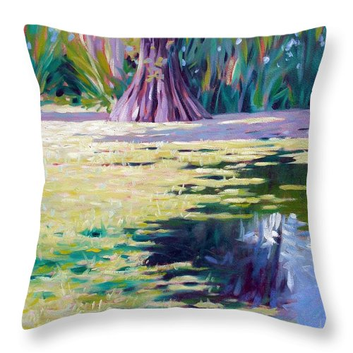 Water Throw Pillow featuring the painting Algae by Kevin Lawrence Leveque