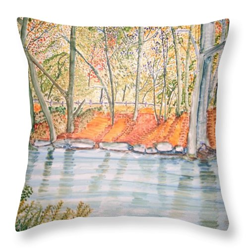 Wissahickon River Throw Pillow featuring the painting Along The Wissahickon by Dolores Pettit