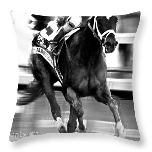 Always Dreaming Throw Pillow featuring the mixed media Always Dreaming, Johnny Velasquez, 143rd Kentucky Derby by Thomas Pollart