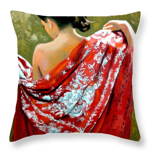Red Throw Pillow featuring the painting aly by Jose Manuel Abraham
