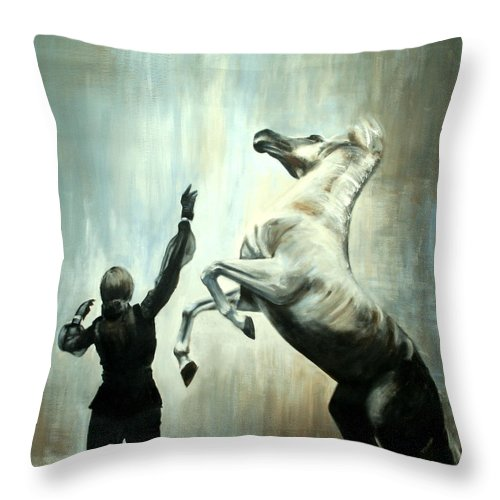 Horses Throw Pillow featuring the painting Amazing Grace by Fiona Jack