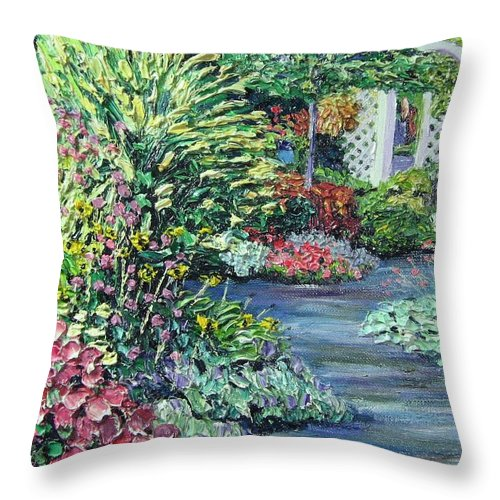 Garden Throw Pillow featuring the painting Amelia Park Pathway by Richard Nowak