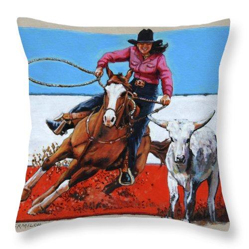 Barrel Riding Throw Pillow featuring the painting American Cowgirl by John Lautermilch