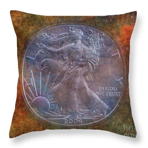 American Silver Eagle Dollar Throw Pillow featuring the photograph American Silver Eagle Dollar by Randy Steele
