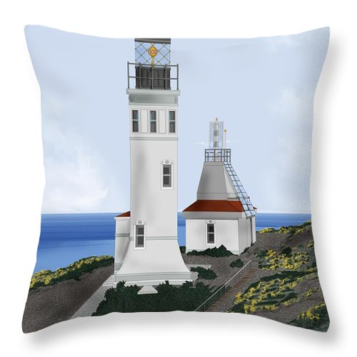 Lighthouse Throw Pillow featuring the painting Anacapa Lighthouse California by Anne Norskog