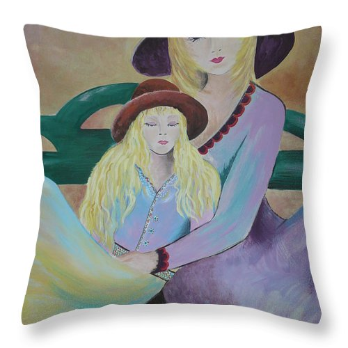 Mother/daughter Throw Pillow featuring the painting Angel Face by Kris Crollard
