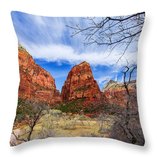 Angels Landing Throw Pillow featuring the photograph Angels Landing by Chad Dutson