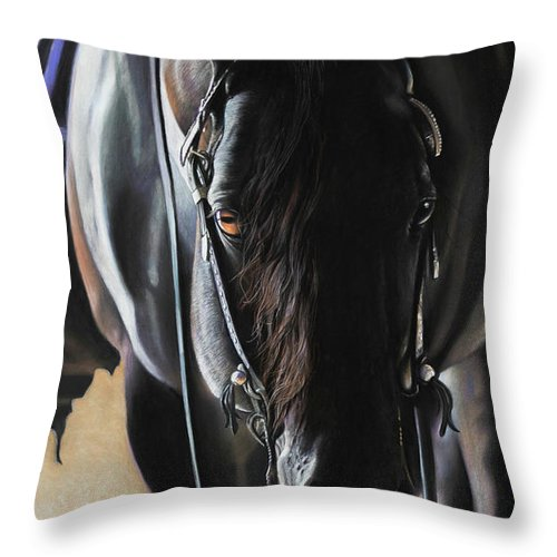 Aqha Throw Pillow featuring the pastel Any Time...Any Place by Joni Beinborn