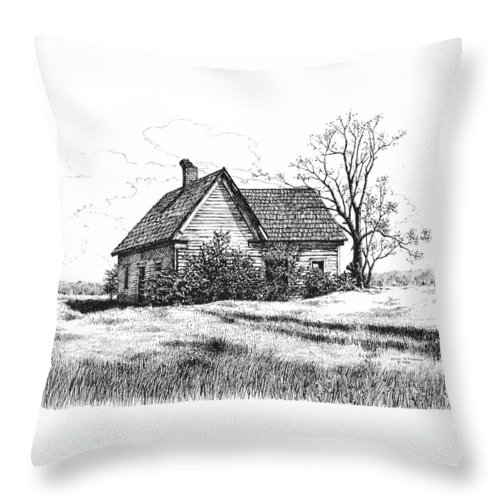 Landscape Throw Pillow featuring the drawing Appalachee Farmhouse by Peter Muzyka