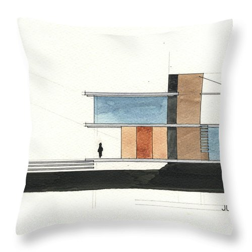 Architectural Drawing Throw Pillow featuring the painting Architectural Drawing by Juan Bosco