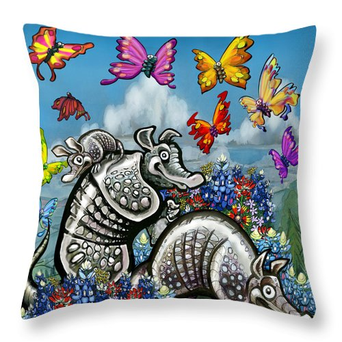 Armadillos Throw Pillow featuring the digital art Armadillos Bluebonnets And Butterflies by Kevin Middleton