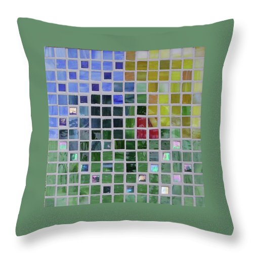 Mosaics Throw Pillow featuring the glass art Arrival by Suzanne Udell Levinger