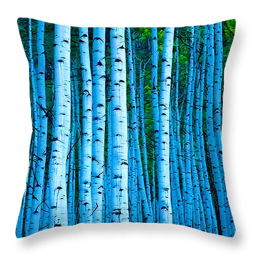 Tree Throw Pillow featuring the photograph Aspen Aspens by Terry Fiala