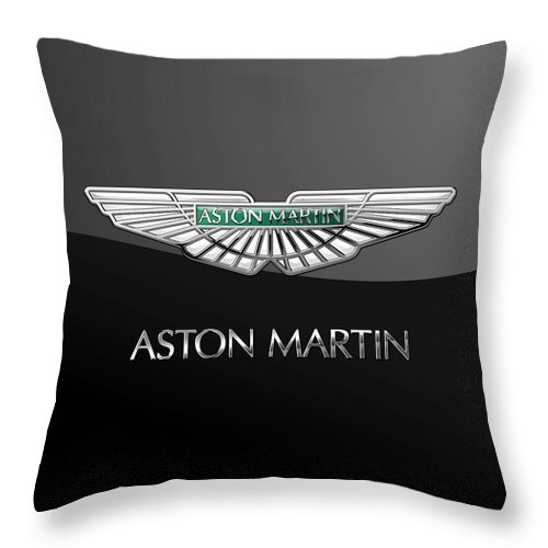 'wheels Of Fortune� Collection By Serge Averbukh Throw Pillow featuring the photograph Aston Martin 3 D Badge on Black by Serge Averbukh
