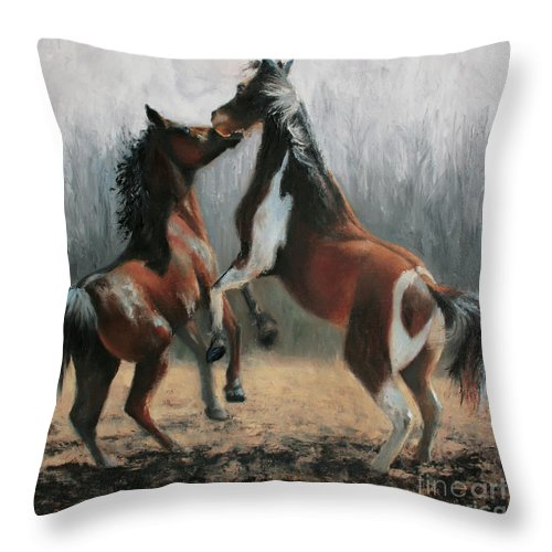 Horse Painting Throw Pillow featuring the painting At Play by Terri Meyer