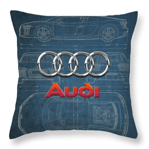 �wheels Of Fortune� Collection By Serge Averbukh Throw Pillow featuring the photograph Audi 3 D Badge over 2016 Audi R 8 Blueprint by Serge Averbukh