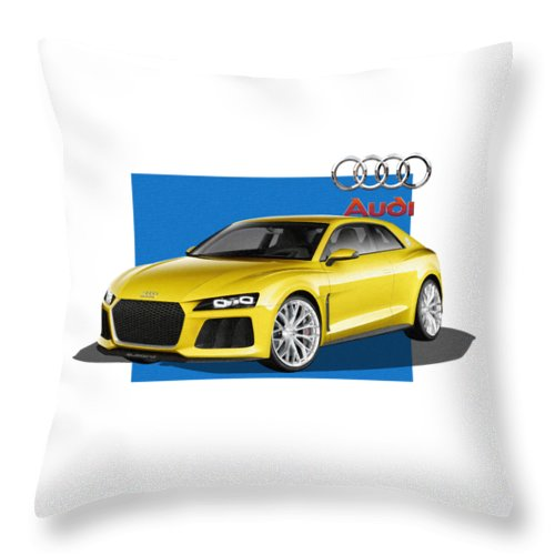 �audi� Collection By Serge Averbukh Throw Pillow featuring the photograph Audi Sport Quattro Concept with 3 D Badge by Serge Averbukh