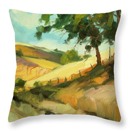 Landscape Throw Pillow featuring the painting August 2 by Steve Henderson