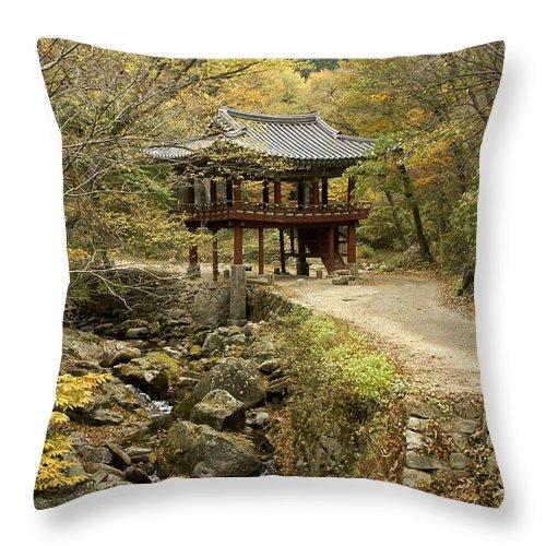 Korea Throw Pillow featuring the photograph Autumn At Seonamsa by Michele Burgess