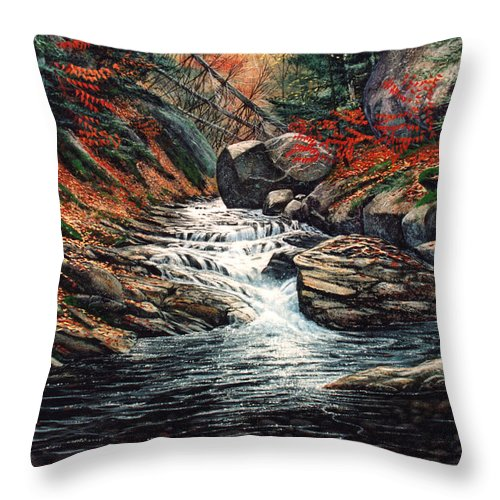 Landscape Throw Pillow featuring the painting Autumn Brook by Frank Wilson