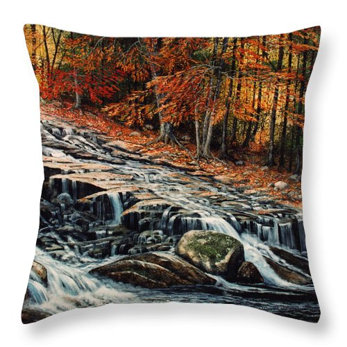 Landscape Throw Pillow featuring the painting Autumn Cascade by Frank Wilson