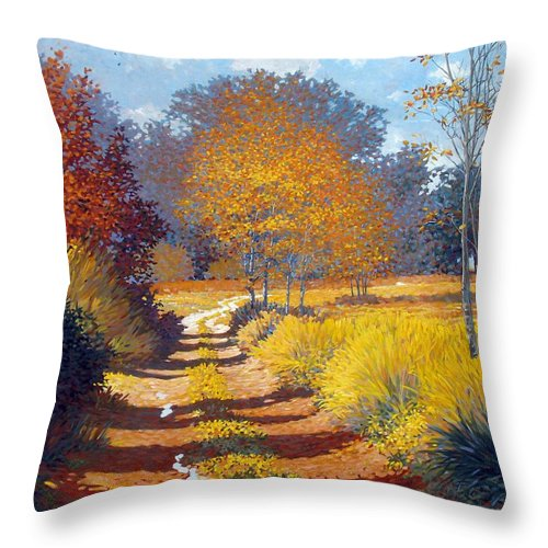 Landscape Throw Pillow featuring the painting Autumn by Kevin Lawrence Leveque