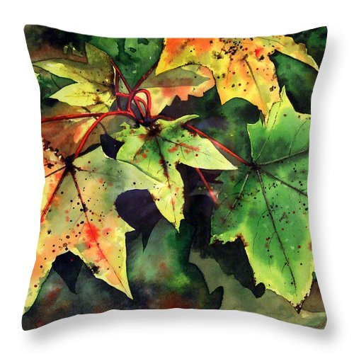 Watercolour Throw Pillow featuring the painting Autumn Leaves by Paul Dene Marlor