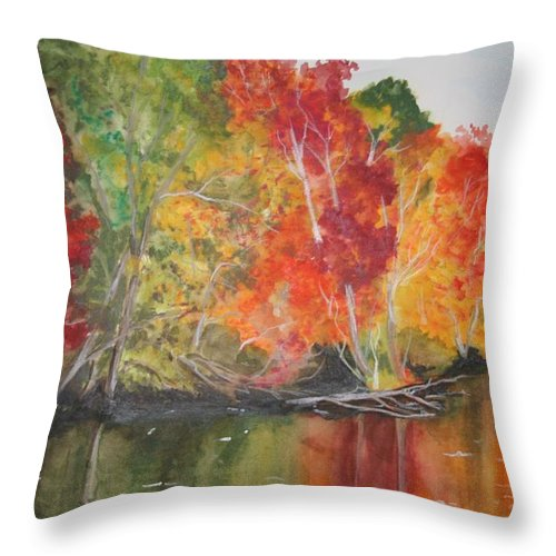 Autumn Throw Pillow featuring the painting Autumn Splendor by Jean Blackmer