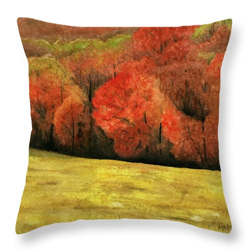 Autumn Throw Pillow featuring the painting Autumn Splendor by Mary Tuomi