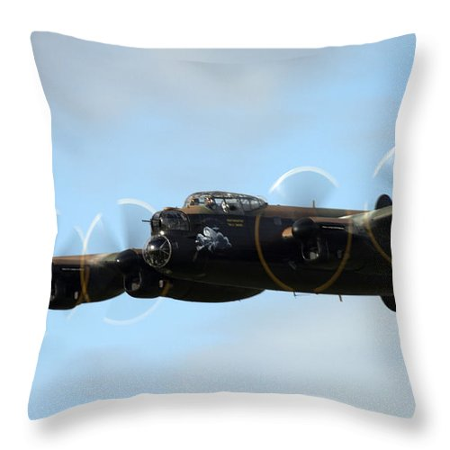 Lancaster Throw Pillow featuring the photograph Avro Lancaster by Angel Ciesniarska