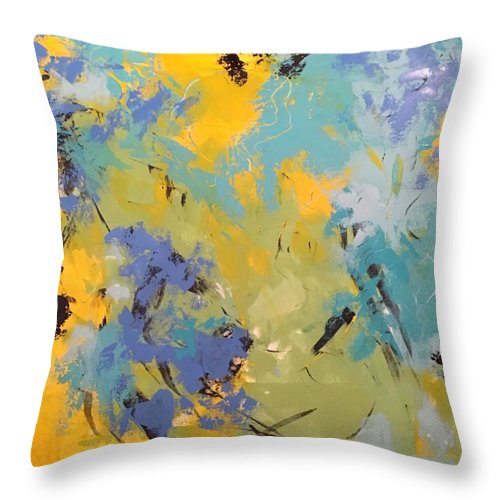 Awaken The Soul Is An Original 36 X 36 Acrylic Abstract Painted On A Gallery Canvas. The Edges Are Painted To Coordinate With The Outer Edges Of The Painting Throw Pillow featuring the painting Awaken The Soul by Suzzanna Frank