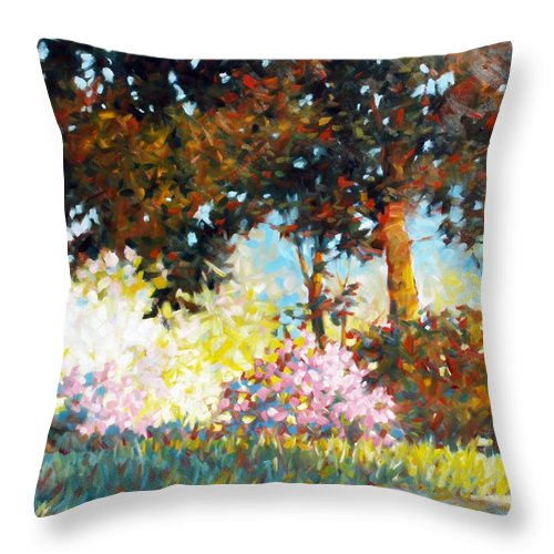 Landscape Throw Pillow featuring the painting Azaleas by Kevin Lawrence Leveque