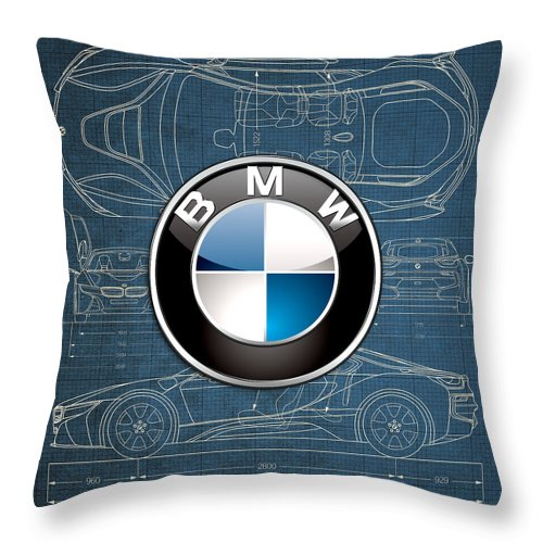 �wheels Of Fortune� By Serge Averbukh Throw Pillow featuring the photograph B M W 3 D Badge over B M W i8 Blueprint by Serge Averbukh