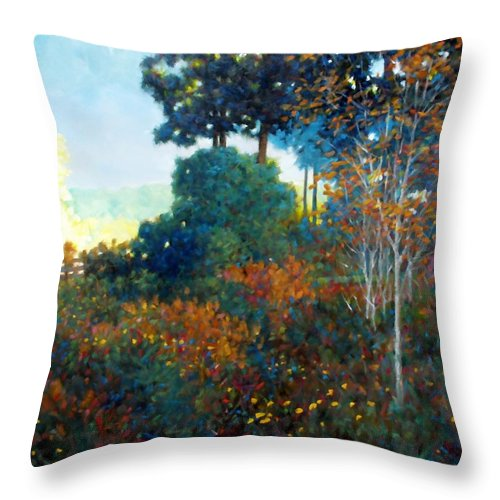 Landscape Throw Pillow featuring the painting Back Gate by Kevin Lawrence Leveque