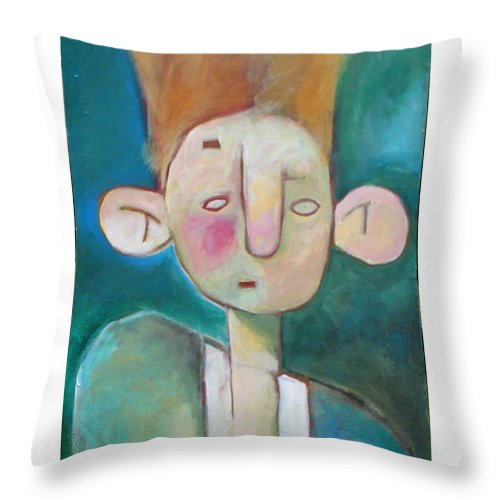 Funny Throw Pillow featuring the painting Bad Hair Life by Tim Nyberg