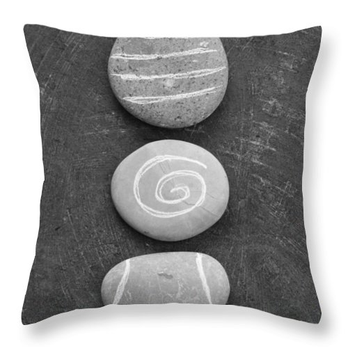 Stones Throw Pillow featuring the mixed media Balance by Linda Woods