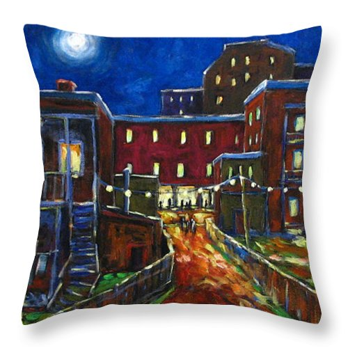 Town Throw Pillow featuring the painting Balconville by Richard T Pranke